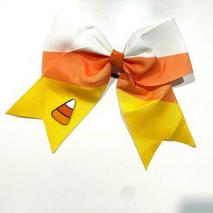 HALLOWEEN Candy corn bow Clip hair tie